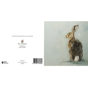 Re-wrapped: ECO Friendly Birthday Wrapping Paper Oil Hare Greetings Card by Sophie Botsford made from 100% Unbleached Recycled Paper