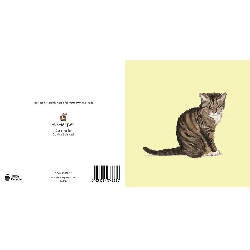 Re-wrapped: ECO Friendly Birthday Wrapping Paper Wellington Cat Greetings Card by Sophie Botsford made from 100% Unbleached Recycled Paper