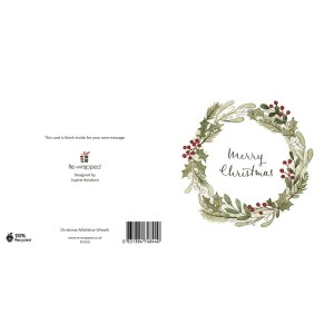 Re-wrapped: ECO Friendly Birthday Wrapping Paper Christmas Mistletoe Wreath Greetings Card by Sophie Botsford made from 100% Unbleached Recycled Paper