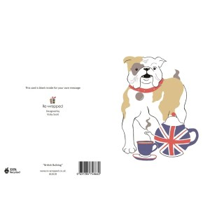 Re-wrapped: ECO Friendly Birthday Wrapping Paper British Bulldog Greetings Card by Vicky Scott made from 100% Unbleached Recycled Paper