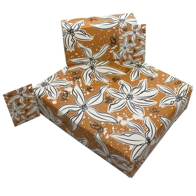 Re-wrapped: ECO Friendly Wrapping Paper Retro Orange Flowers by Rosie Parkinson made from 100% Unbleached Recycled Paper