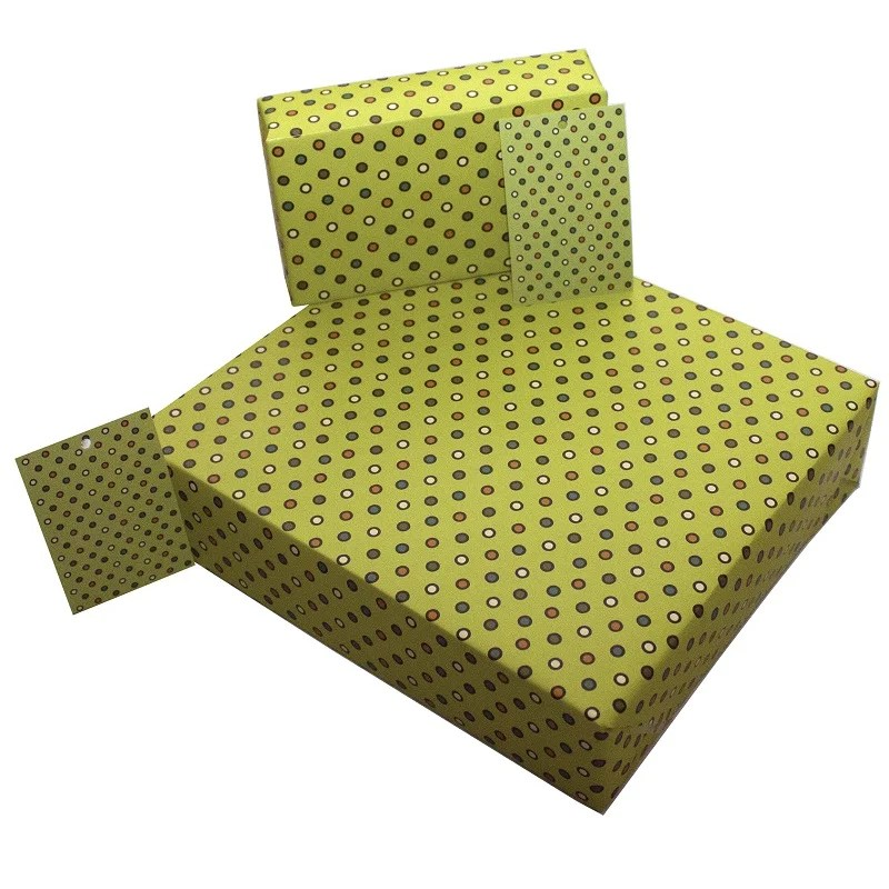 Re-wrapped: ECO Friendly Wrapping Paper Retro Yellow Dots by Rosie Parkinson made from 100% Unbleached Recycled Paper