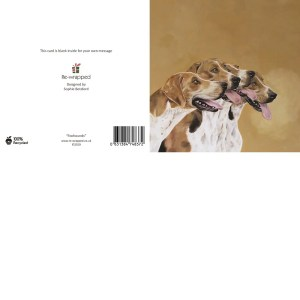 Re-wrapped: ECO Friendly Birthday Wrapping Paper Oil Foxhounds Greetings Card by Sophie Botsford made from 100% Unbleached Recycled Paper