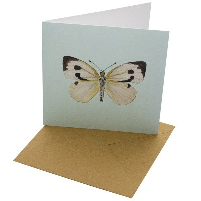 Re-wrapped: ECO Friendly Birthday Wrapping Paper Large White Butterfly Greetings Card by Sophie Botsford made from 100% Unbleached Recycled Card