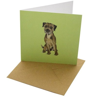 Re-wrapped: ECO Friendly Birthday Wrapping Paper Border Terrier Dog Greetings Card by Sophie Botsford made from 100% Unbleached Recycled Card