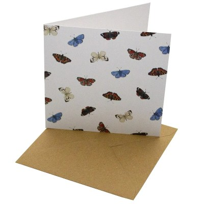 Re-wrapped: ECO Friendly Birthday Wrapping Paper English Butterflies Greetings Card by Sophie Botsford made from 100% Unbleached Recycled Card