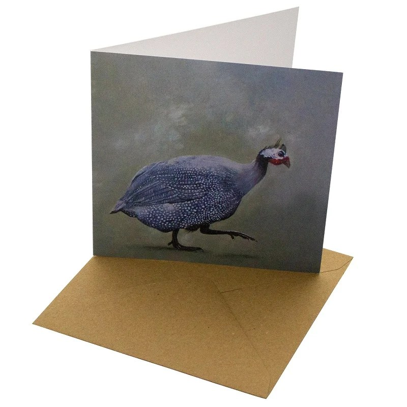 Re-wrapped: ECO Friendly Birthday Wrapping Paper Oil Guinea Fowl Greetings Card by Sophie Botsford made from 100% Unbleached Recycled Card
