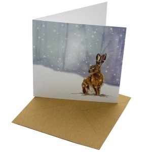 Re-wrapped: ECO Friendly Xmas Wrapping Paper Christmas Brown Hare Greetings Card by Sophie Botsford made from 100% Unbleached Recycled Card