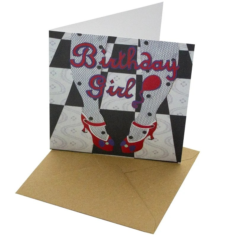 Re-wrapped: ECO Friendly Birthday Wrapping Paper Birthday Girl Greetings Card by Vicky Scott made from 100% Unbleached Recycled Card