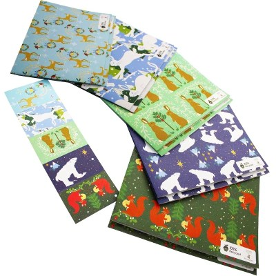 Re-wrapped: ECO Friendly Wrapping Paper Christmas Animal Large Pack by Vicky Scott made from 100% Unbleached Recycled Paper
