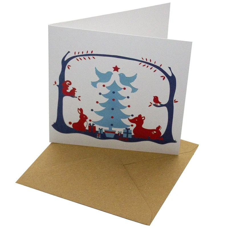 Re-wrapped: ECO Friendly Xmas Wrapping Paper Christmas Animals and Trees Greetings Card by Vicky Scott made from 100% Unbleached Recycled Card