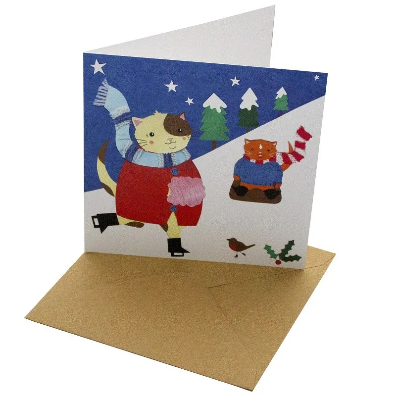 Re-wrapped: ECO Friendly Xmas Wrapping Paper Christmas Cat Ice Skating Greetings Card by Vicky Scott made from 100% Unbleached Recycled Card
