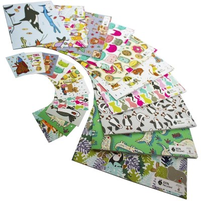 Re-wrapped: ECO Friendly Wrapping Paper Children's Large Pack by Rosie Parkinson made from 100% Unbleached Recycled Paper