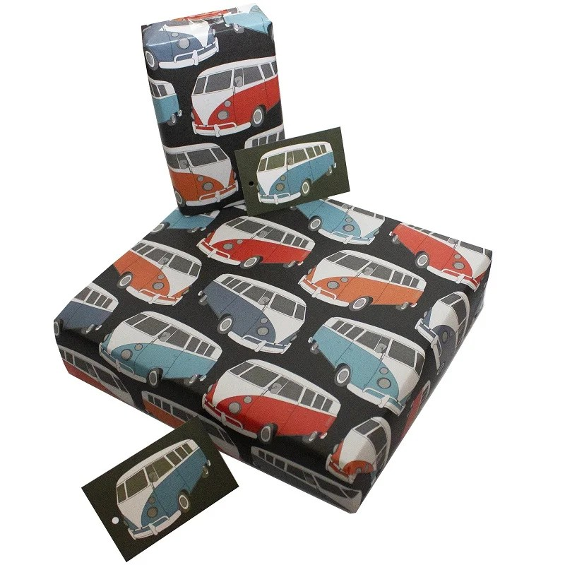 Re-wrapped: ECO Friendly Wrapping Paper Camper Vans by Rosie Parkinson made from 100% Unbleached Recycled Paper