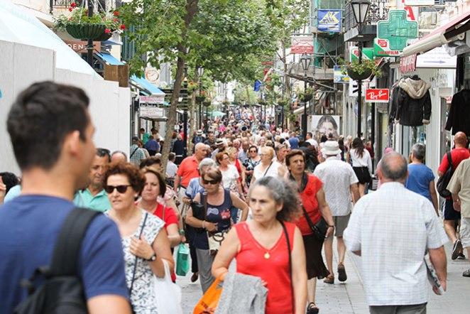 Thousands of- Tourists Main Street Gibraltar Tourism