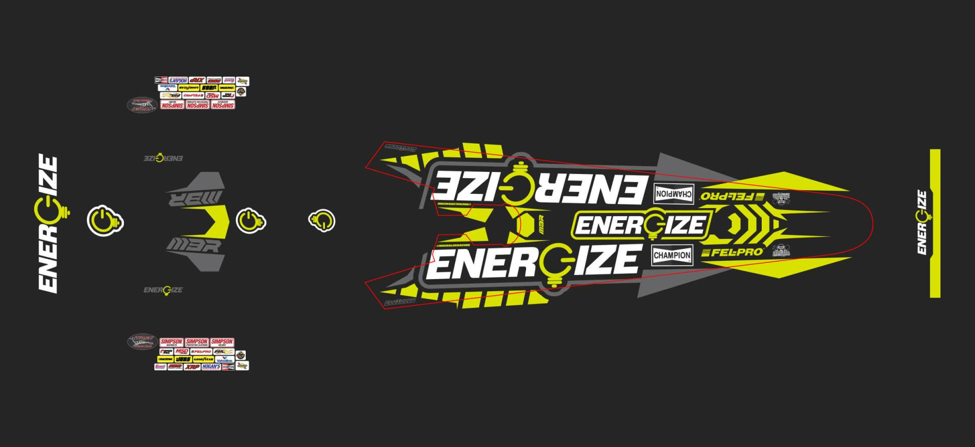 Overhead flat view of the React104 designed ENERGIZE A/fuel dragster.