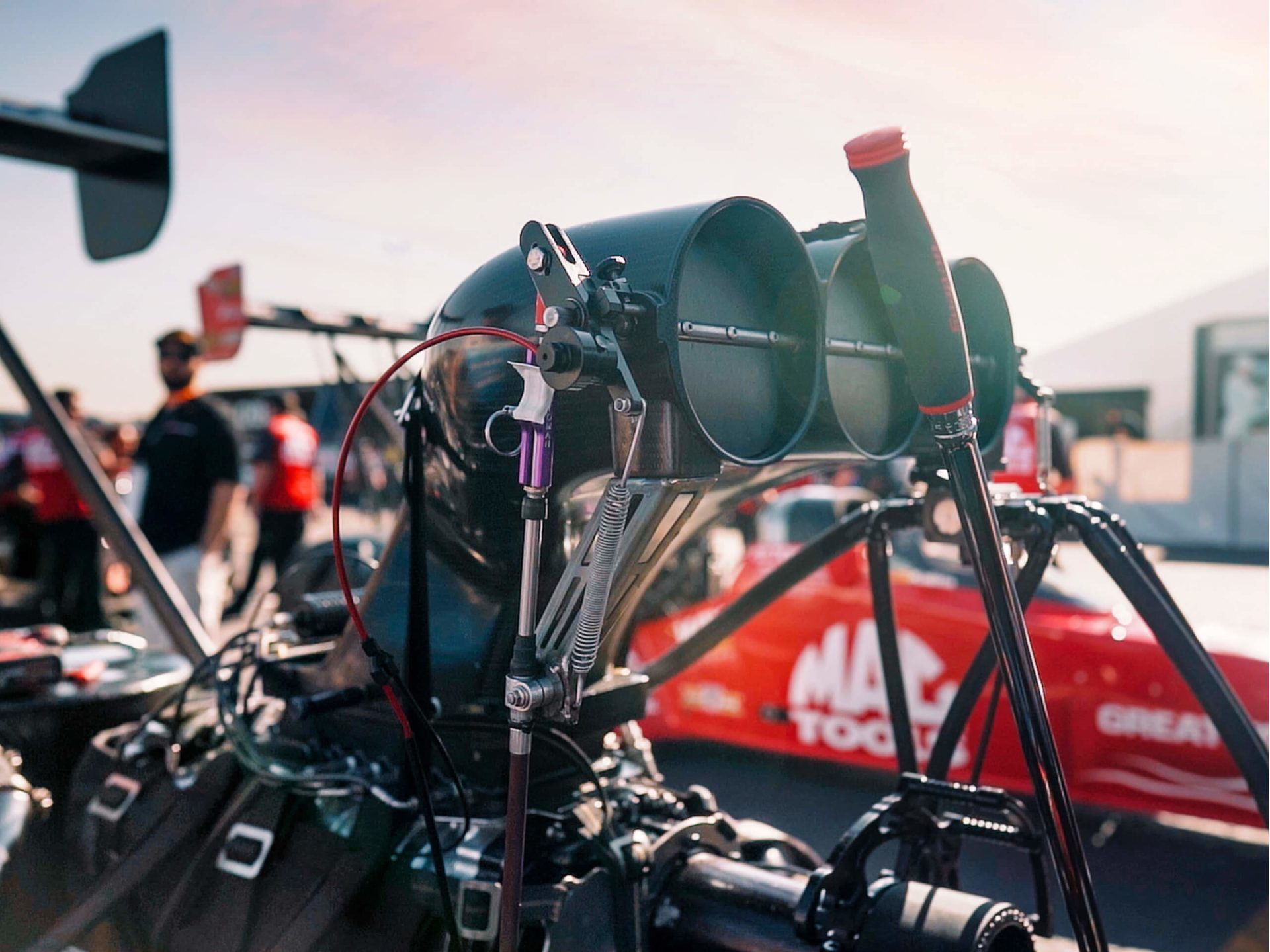 Detailed shot of the injector on Justin Ashley's NHRA Top Fuel Dragster at the 2019 NHRA World Finals.