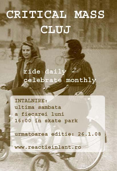 Flyer pentru urmatoarea editie Critical Mass Cluj