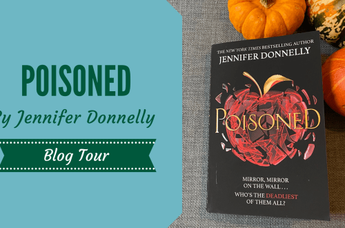 Poisoned by Jennifer Donnelly on blue background with Halloween squash surrounding it.