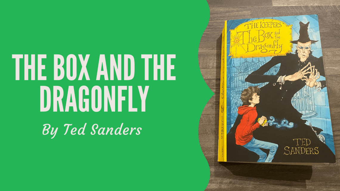 The Box and the Dragonfly by Ted Sanders on wooden background