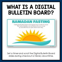 Digital Library Bulletin Board for Grades 7-12. The topic is Ramadan.