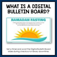 Digital Library Bulletin Board for Grades 7-12. The topic is Ramadan.