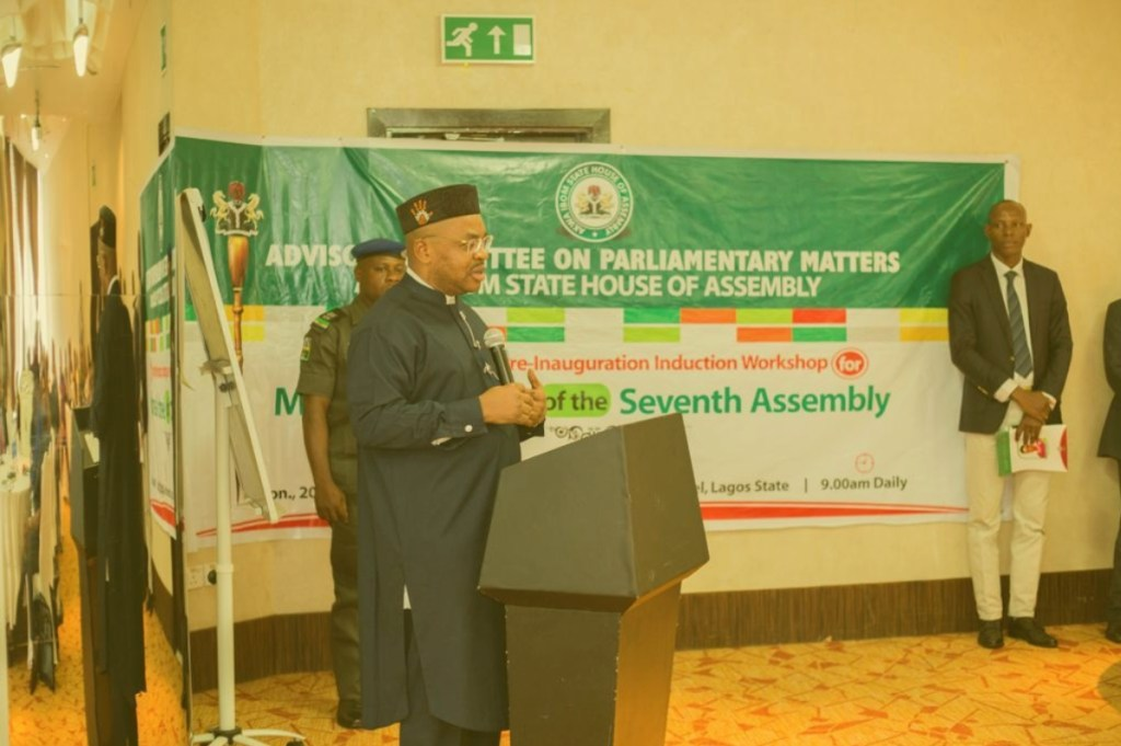 Governor Udom Emmanuel addressing participants at the ongoing pre-induction workshop for incoming members of Akwa Ibom Legislature