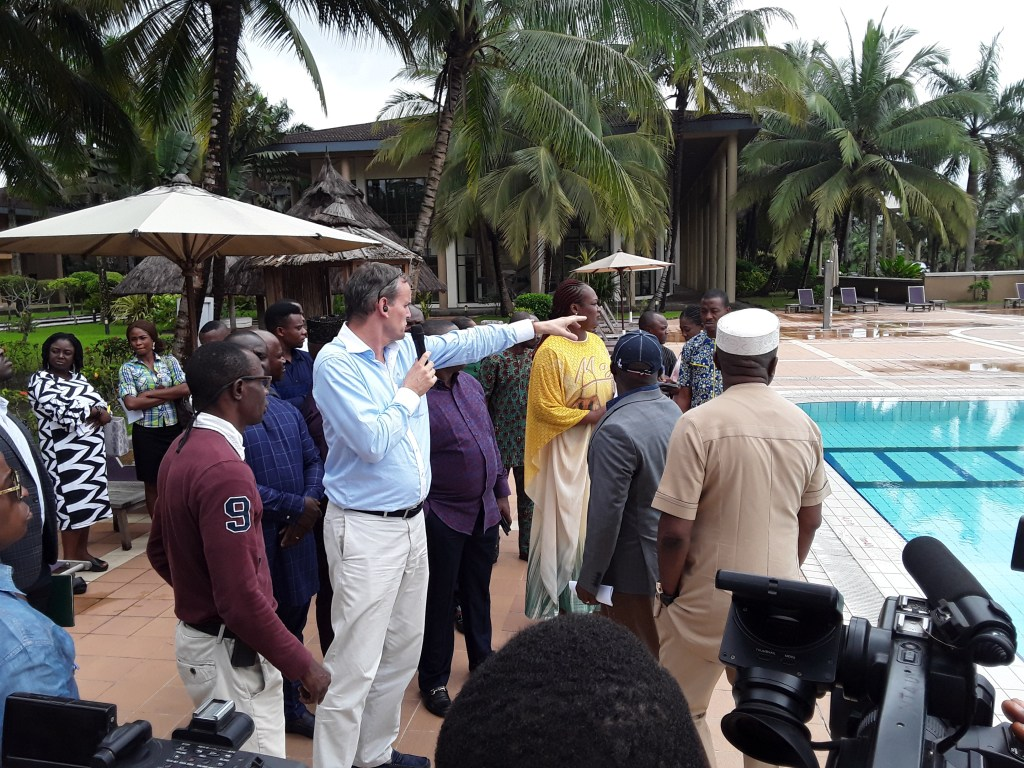 MD of Ibom Hotels and Golf Resort Mr. Ronald Stilting intimating members of the Committee on the workability of facilities