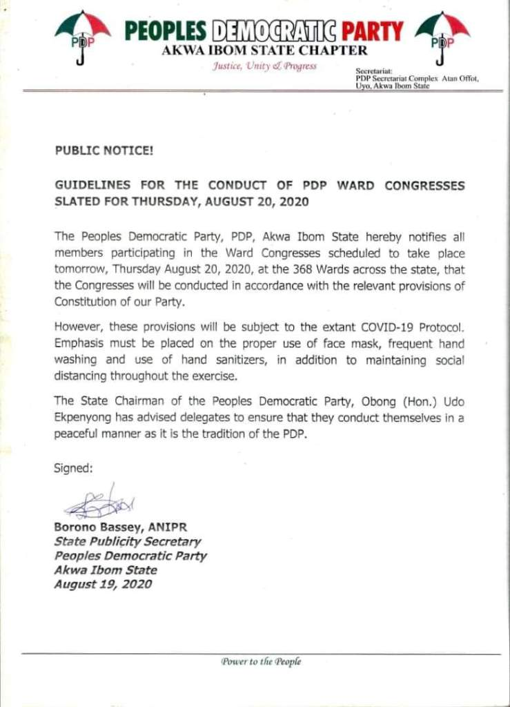 FB IMG 1597912469193 Just In: See Guidelines for the Conduct of PDP Ward Congresses For Today, Thursday, August 20, 2020