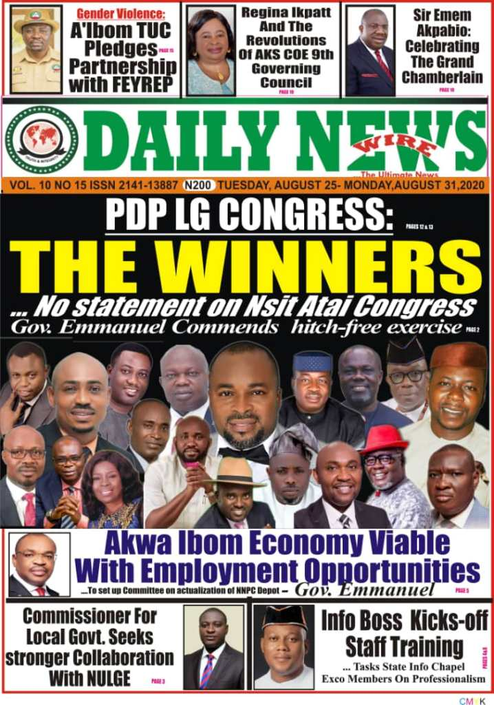 IMG 20200825 WA0000 Top Akwa Ibom Newspaper Headlines For Today Tuesday August 25, 2020