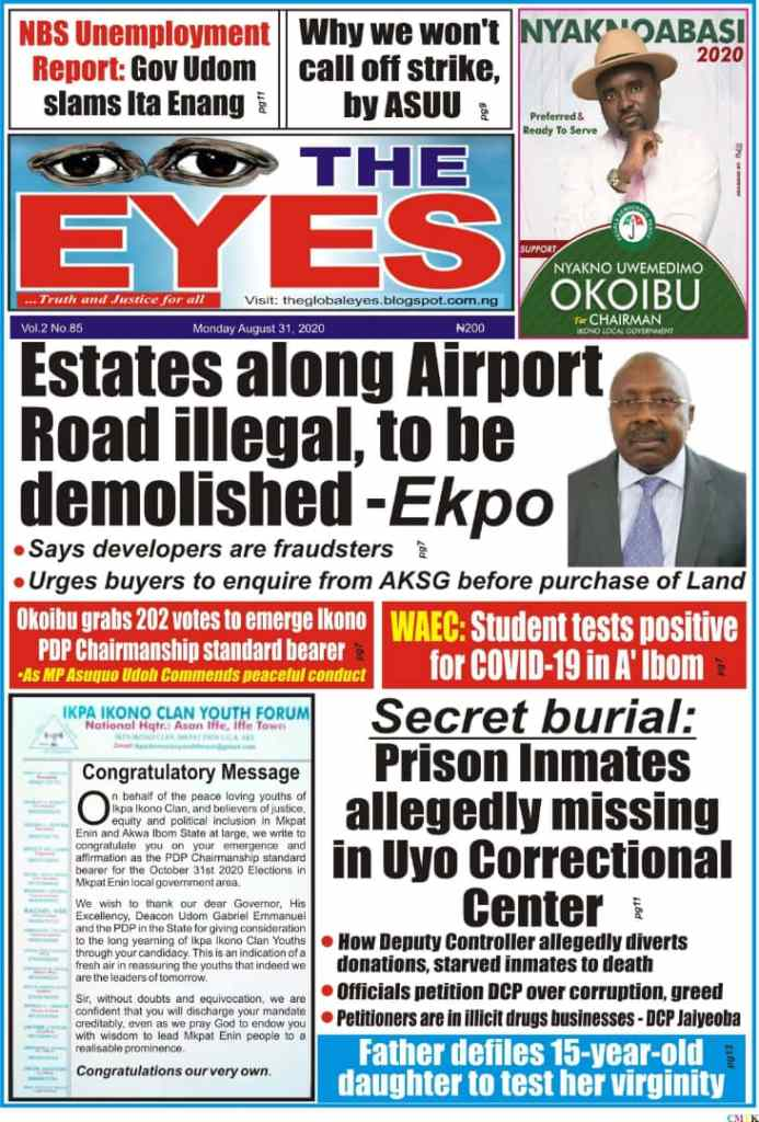 IMG 20200825 WA0010 Top Akwa Ibom Newspaper Headlines For Today Tuesday August 25, 2020