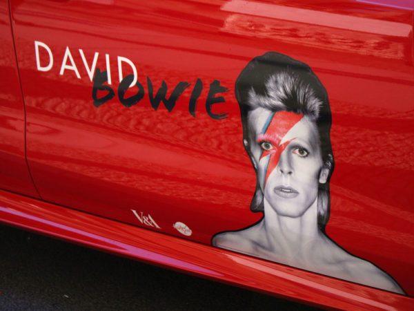 David Bowie on car