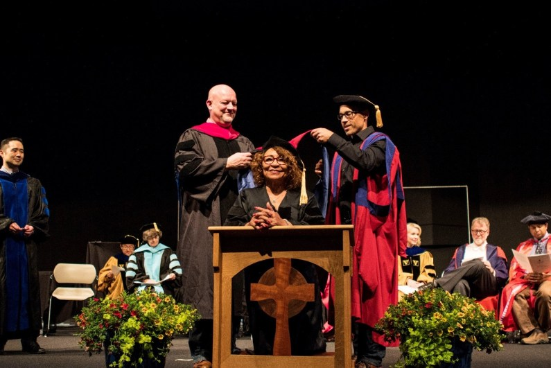 Rose Maria McCarthy Anding, receiving her Doctor of Ministry Graduate