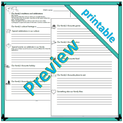 Family traditions and celebrations – parent sheet pdf