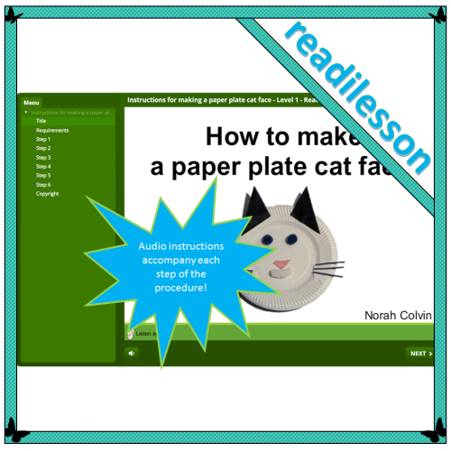 Instructions for making a paper plate cat face – Level 1 – Read to me
