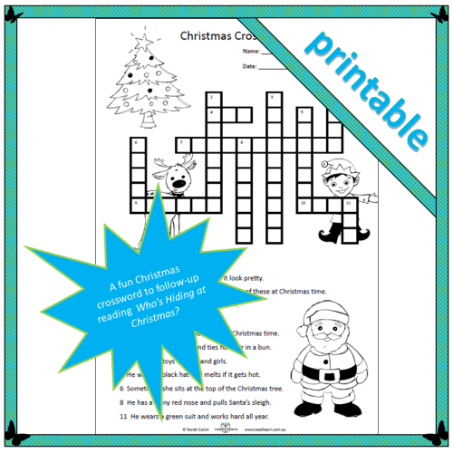 a Christmas themed crossword puzzle