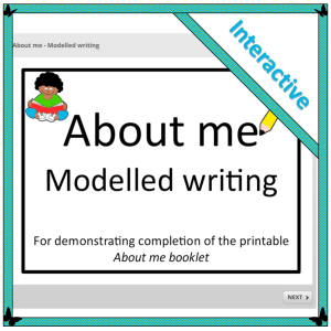 About me modelled writing