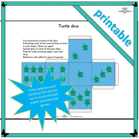 printable turtle-themed dice for maths activities and games