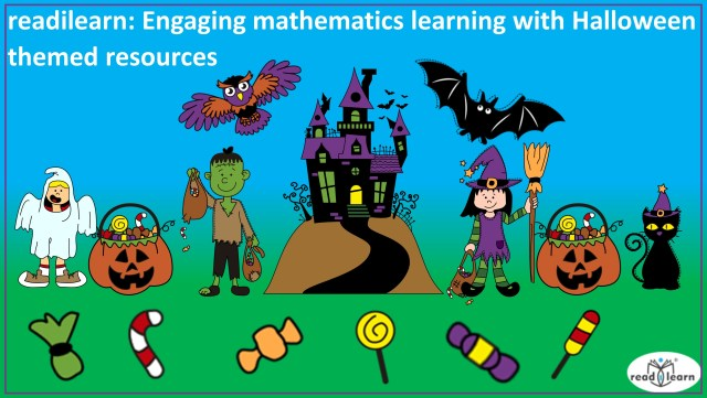 interactive Halloween themed mathematics resources for lower primary on the interactive whiteboard