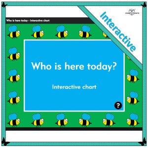 an interactive who is here chart for the interactive whiteboard using children's names