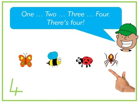 counting to four with one to one correspondence