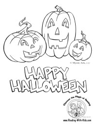 halloween reading coloring page