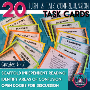 Scaffold instruction for struggling readers with these reading comprehension bookmarks for high school. Reading and Writing Haven. #readingcomprehension #highschoolenglish