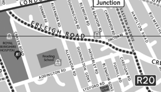 Earley Road map