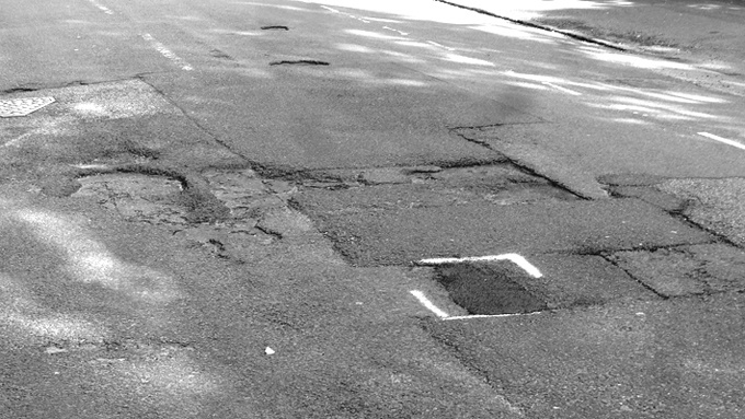 Potholes in Erleigh Road