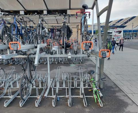 Bike racks at north of Reading Station