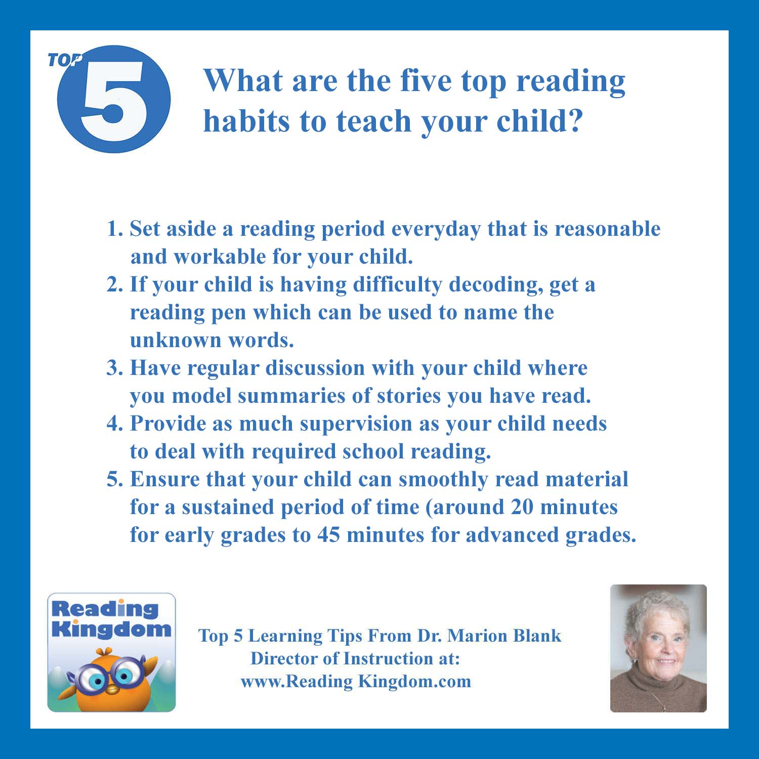 Ask Dr Blank What Are The Five Top Reading Habits To Teach Your Child