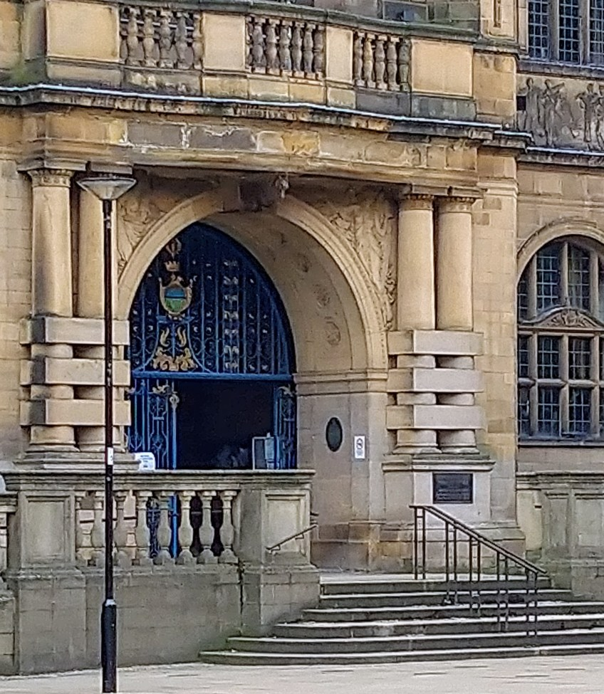Sheffield Town Hall - the main entrance today. Guests would have used it in 1909ld have