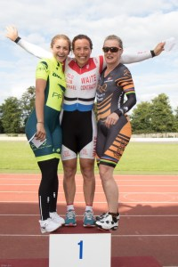 Women's Omnium Podium Left to Right: Amber Joseph (Palmer Park Velo), 2nd; Madeleine Moore (VC St Raphael), 1st; Janet Birkmyre (TORQ Performance)