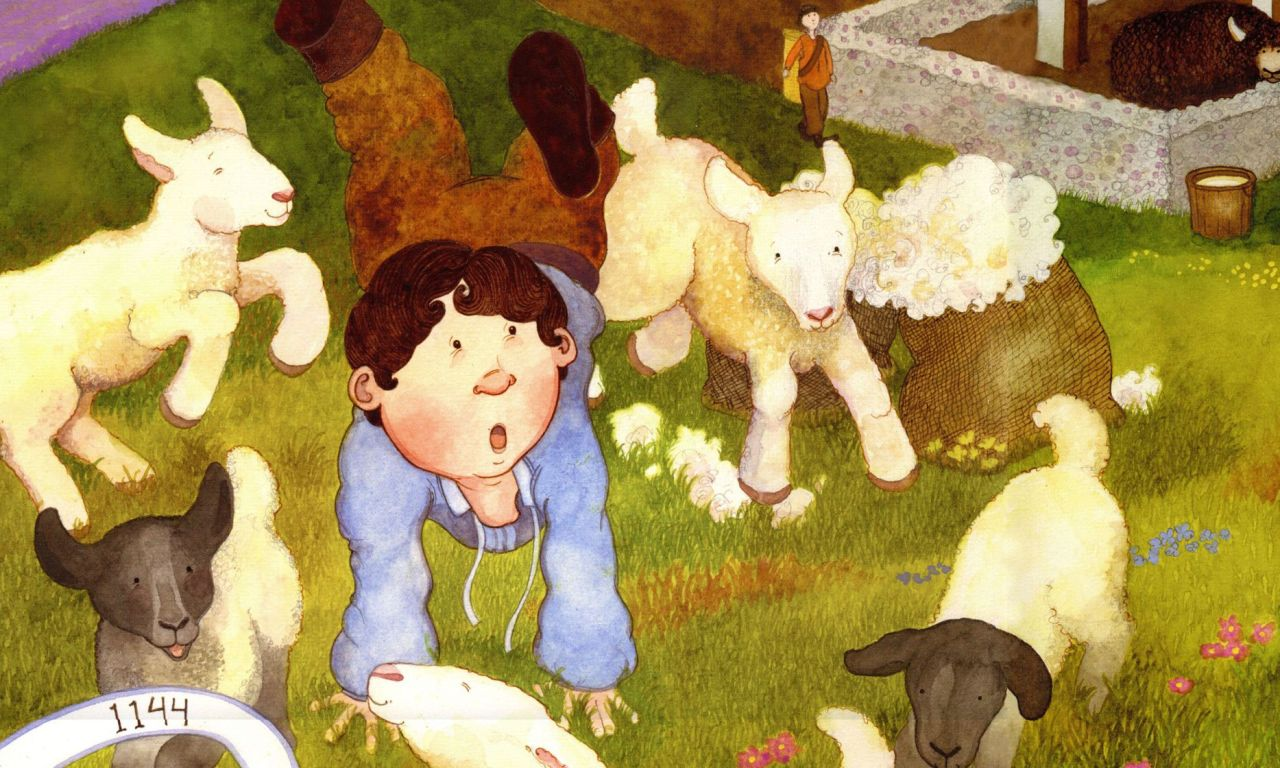 illustration of child lying in field with sheep